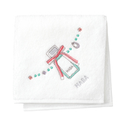 SQUALANE Embroidered Imabari Towel Handkerchief